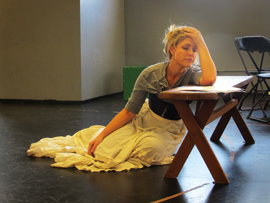 Emily Grogan rehearses a scene from Anna Karenina; photo by Shannon Erickson.