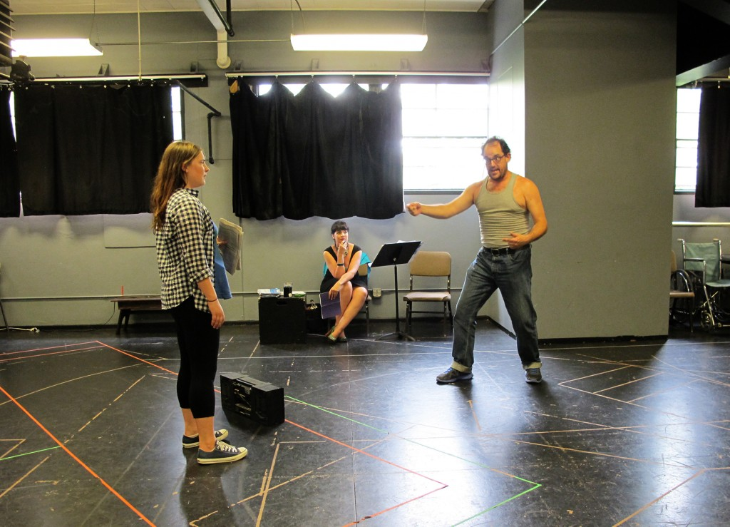 In rehearsal. (Jocelyn Maher, Director Kelly Kitchens, and David Anthony Lewis; photo by Shannon Erickson.)