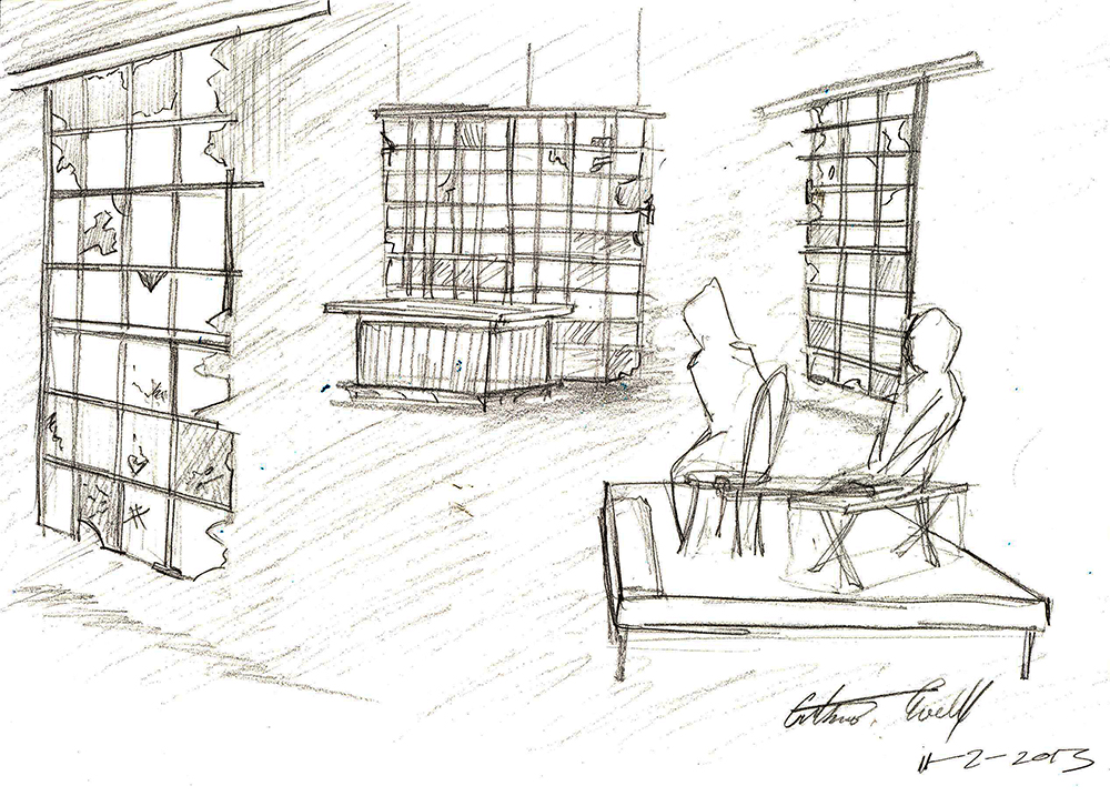 The Jesus' Son set, sketched by Cornell