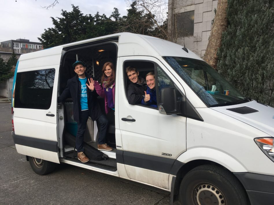 """The cast of """"Last Stop"""" about to hit the road."""