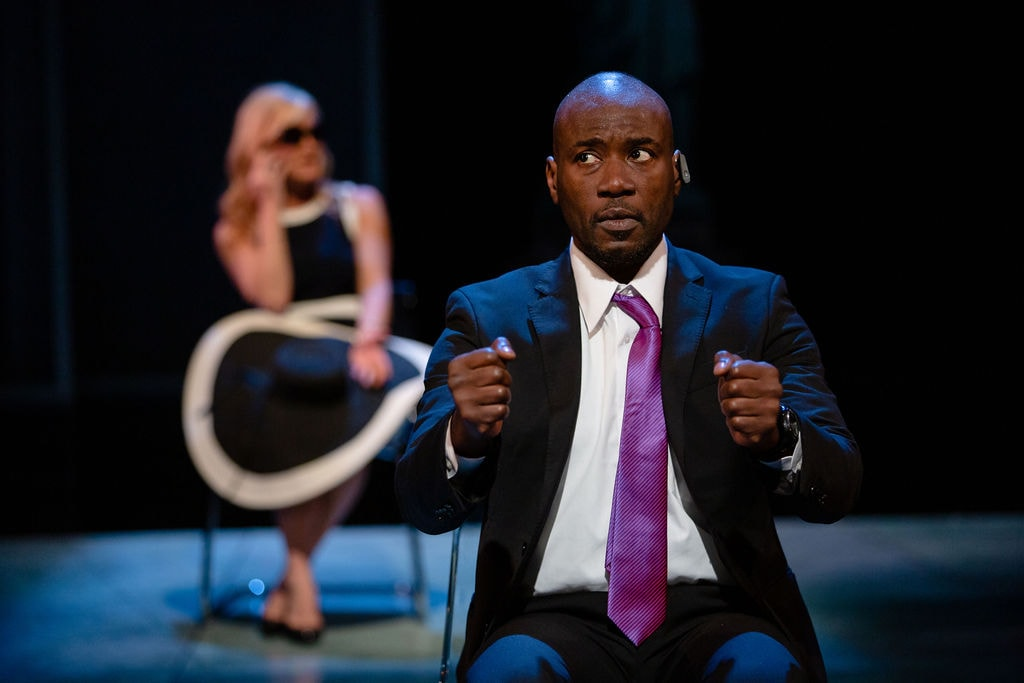 Sylvester Foday Kamara (Jende) and Beth DeVries (Cindy); photo by John Ulman